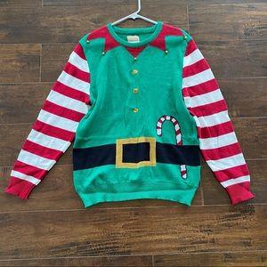 Ugly sweater elf Santa candy cane medium